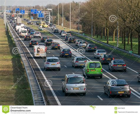 netherlands motorway map tailback during peak hour on freeway netherlands editorial stock photo image 53473623