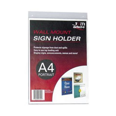 Harga Clear Sleeves deflect o wall mount a4 sign holder portrait officeworks