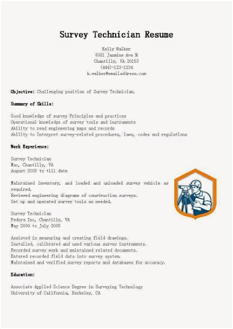 Survey Technician Cover Letter by Great Sle Resume