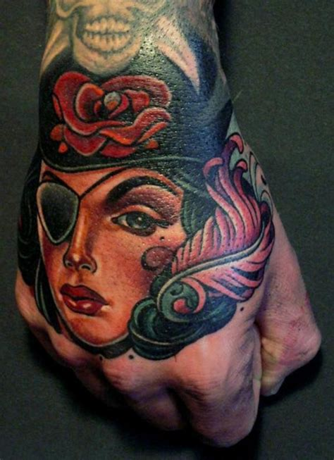 pirate face tattoo beautiful colored pirate tattooimages biz