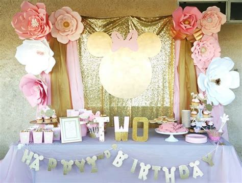 Minnie Mouse Diy Decorations Fiesta Infantil De Minnie Mouse Rosa Con Dorado Curso De