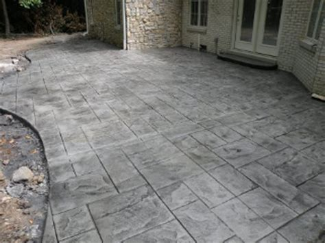 stamped concrete patio large ashlar slate   stamped