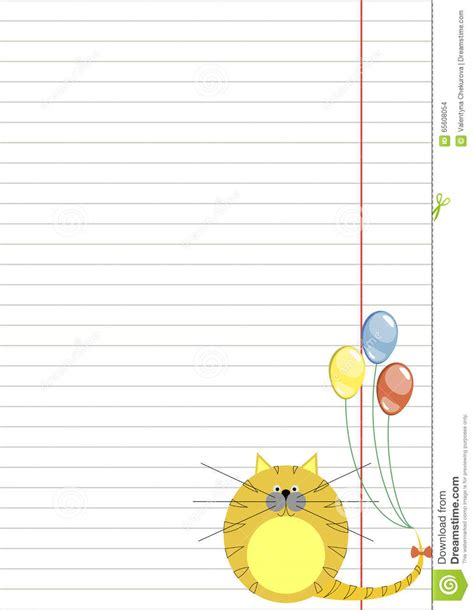 lined paper with cat border vector blank for letter or greeting card white paper form