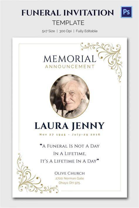 funeral invitation template 15 funeral invitation templates free sle exle