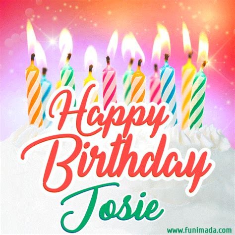 happy birthday gif  josie  birthday cake  lit candles   funimadacom