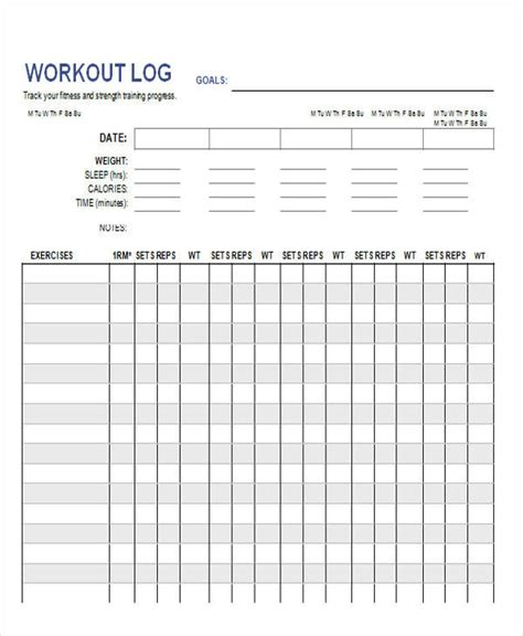 free printable workout log template 38 log templates in word