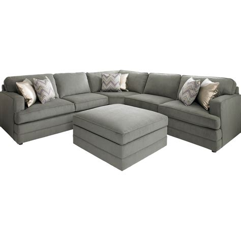 couch ottoman bassett dalton l shaped sectional sofa with ottoman