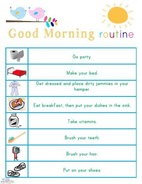 printable toddler routine chart kids morning bedtime and ready for school free