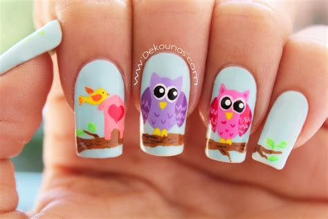 imagenes de uñas pintadas con colores pasteles decoraci 243 n de u 241 as buhos owl nail art youtube
