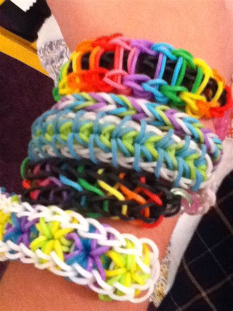 My rainbow loom bracelets!! Ladder, fishtail, zippy chain ...
