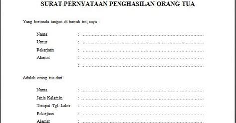 contoh surat keterangan penghasilan orang tua dari kelurahan
