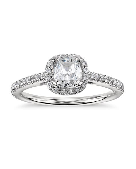 cushion cut halo engagement ring in platinum cushion cut engagement rings martha stewart weddings