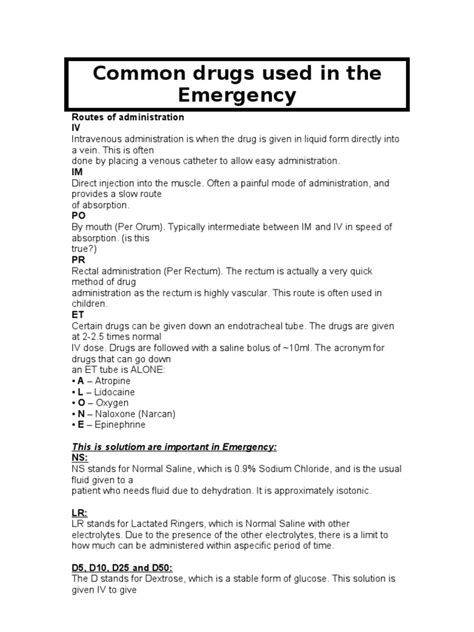 emergency drugs in emergency room common drugs used in the emergency saline medicine