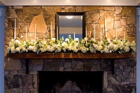 wedding flowers for the fireplace hearth at the garden