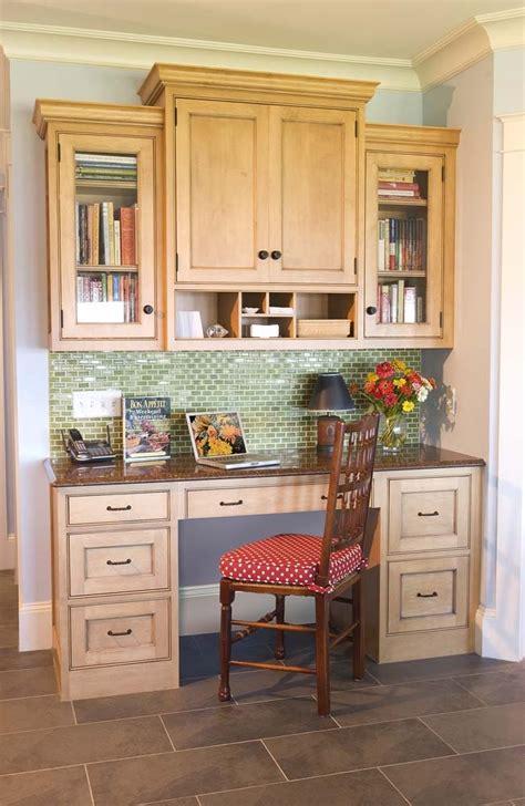 Kitchen Desk Area by Desk Area With Tile Backsplash Crown Molding Kitchen