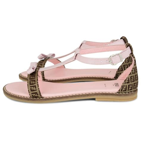 sandals with a bow fendi pink and beige branded sandals with pink bow