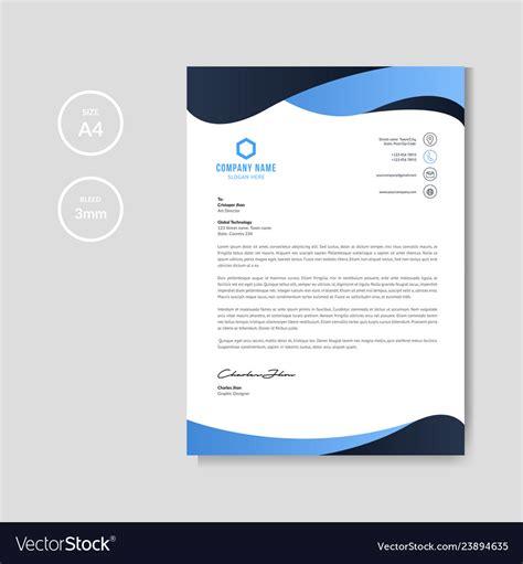 modern blue wavy letterhead background royalty vector