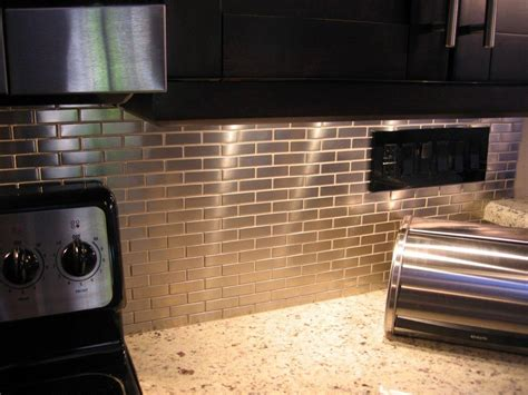 stainless kitchen backsplash shop for stainless steel 75 x2 5 metal tile brick pattern