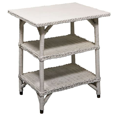White Wicker Table by White Wicker Three Tiered Table At 1stdibs