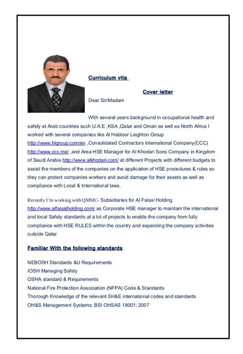 Hse Manager Cover Letter mr fateh sarhan corporate hse manager update cv