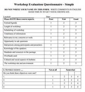workshop evaluation form 9 free download for pdf