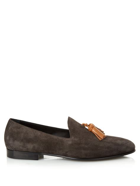 lewis loafers burberry prorsum lewis suede loafers in gray for lyst