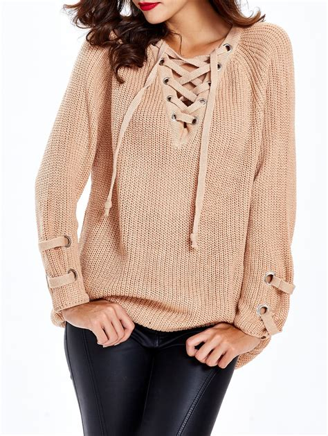 Hoodie Sweater Mr Bean 1 lace up chunky sweater in apricot one size sammydress