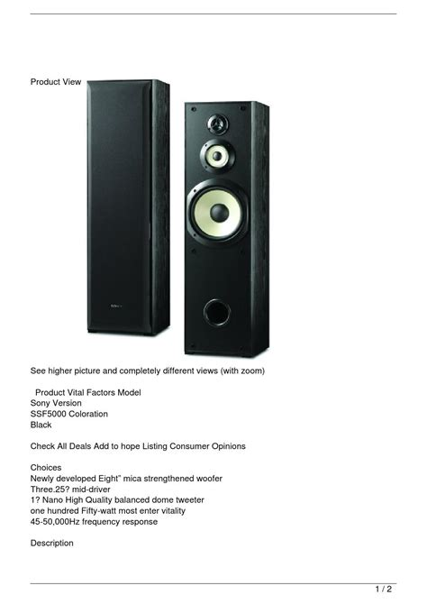 10 woofer three way floor standing speakers sony ssf 5000 floor standing 3 way speaker pair by