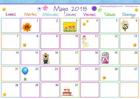 Calendario 2018 Mayo Tarjetas Para Imprimir