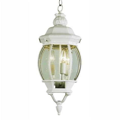 Bel Air Outdoor Lighting Bel Air Lighting 3 Light Outdoor Hanging White Lantern With Clear Glass 4066 Wh The Home Depot