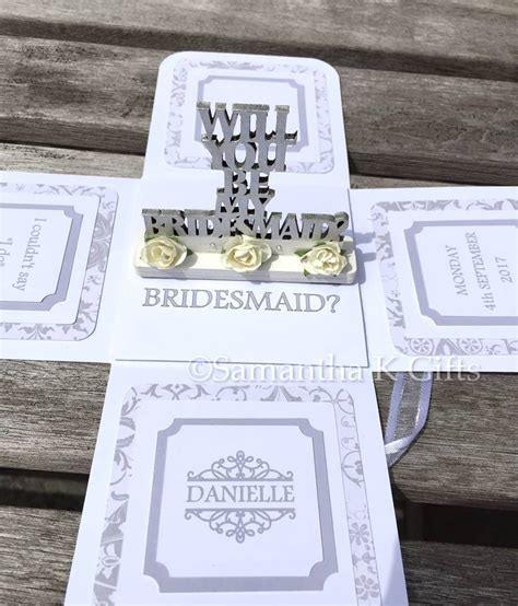 Will you be my bridesmaid keepsake exploding box card