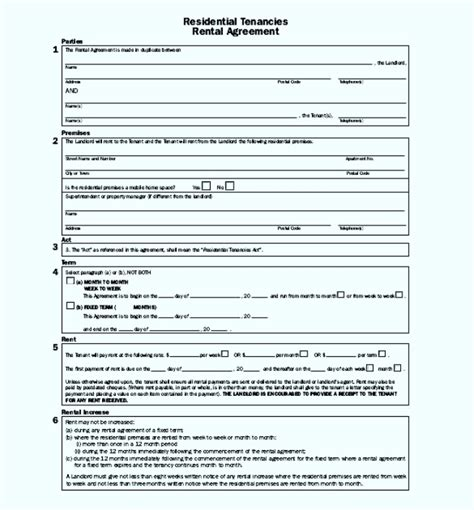 apartment lease agreement template pdf format sle