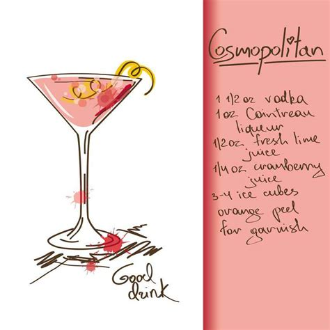 cosmopolitan drink drawing mexican cocktails playadelcarmen org