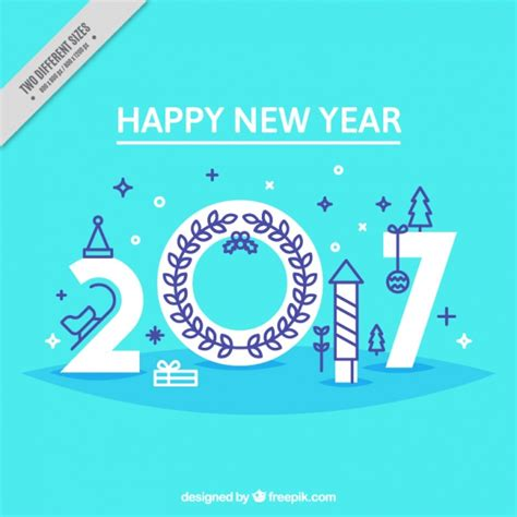 new year element vector free happy new year with elements in flat style vector free