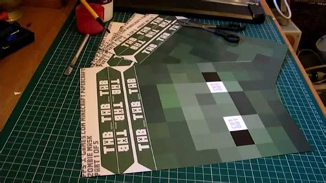 printable minecraft zombie mask how to make a minecraft mask youtube