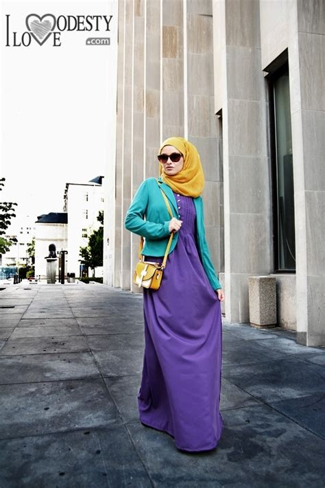 Dress Muslim Abaya Hikmat Fashion A192 Turquise purple maxi dress turquoise blazer mustard scarf muslimah fashion muslim