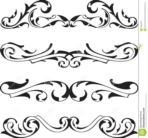 victorian designs divide victorian design elements set stock vector