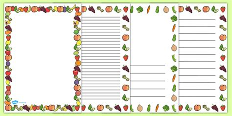 Fruit And Vegetables Themed A4 Page Border   food, fruit