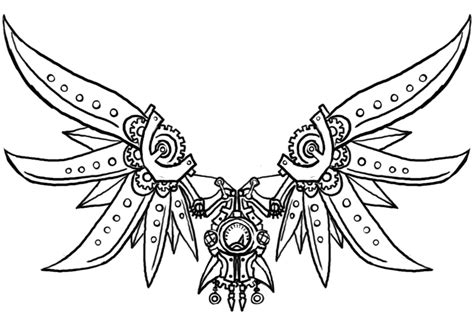 winged things a grayscale coloring book for adults featuring fairies dragons and pegasus books steunk wings 2 by genesischant on deviantart