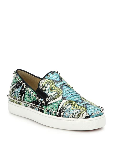 christian louboutin sneakers for christian louboutin studded printed python skate sneakers