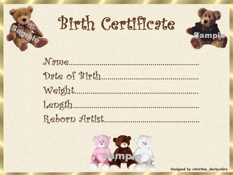 teddy bear birth certificate certificates 4 reborn fake
