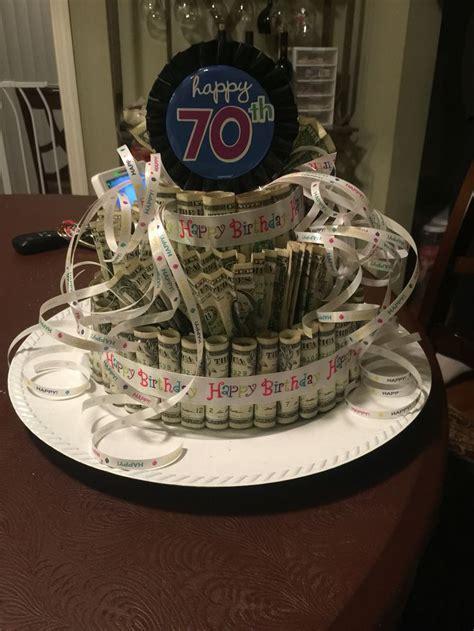 Money cake with dollar bills.   Gift Ideas   Pinterest