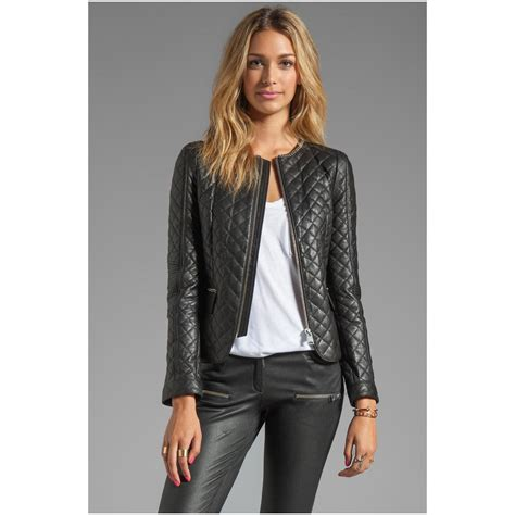 womens quilted leather jacket caffection