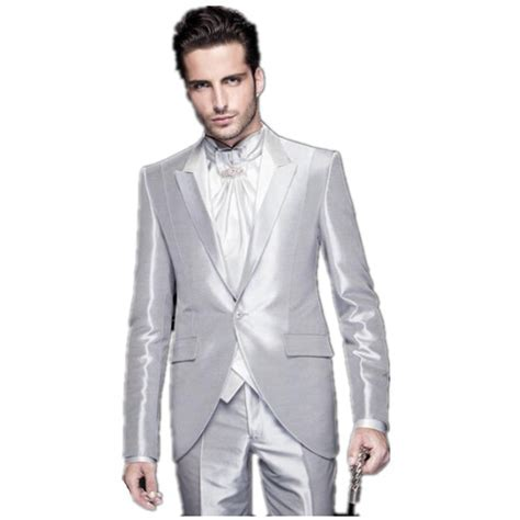 2016 bright silver mens wedding suits tuxedo mens best