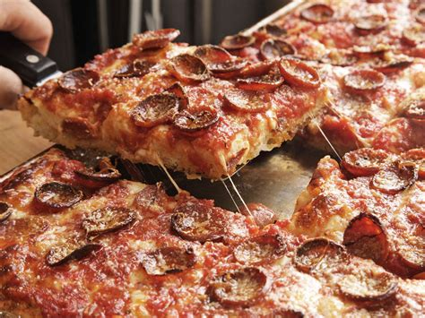 sicilian pizza with pepperoni and spicy tomato sauce recipe serious eats