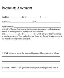 Letter Of Roommate Agreement 6 Sle Roommate Rental Agreement Form Exles In Word Pdf