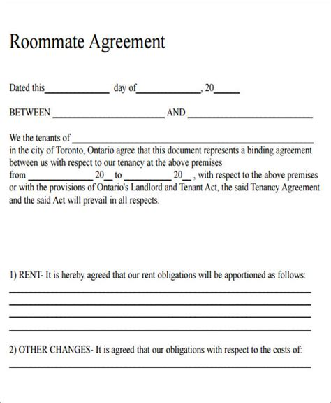 free printable lease agreement for roommates 7 sle roommate rental agreement form exles in