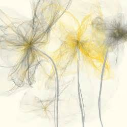 yellow and grey yellow and gray flowers impressionist painting by lourry legarde