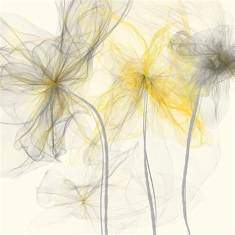 yellow and grey yellow and gray flowers impressionist painting by lourry