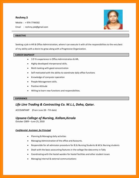 resume format word file